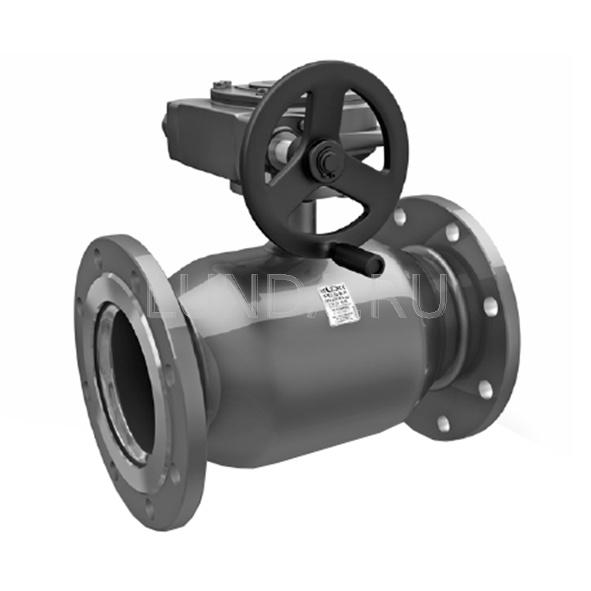 Шаровой стальной кран фланец/фланец полнопроходной, с редуктором, Ду 50-600, Ру 16-40, LD